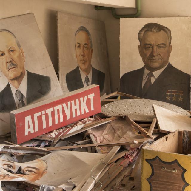 """""""Propaganda paintings, Pripyat, nr Chernoby, Ukraine"""" stock image"""