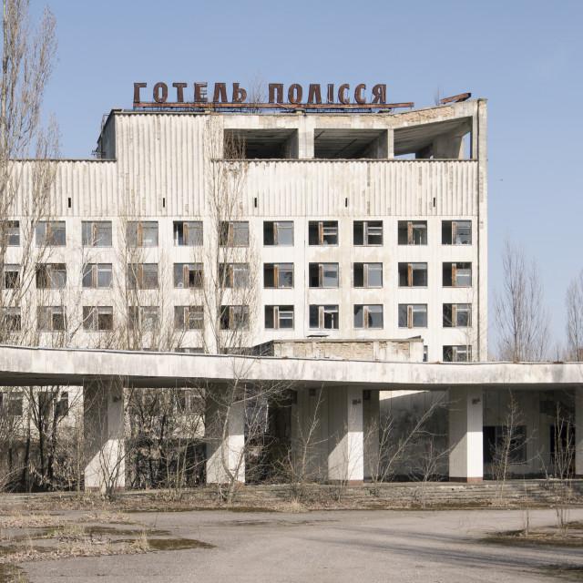 """""""Hotel in town square, Pripyat, nr Chernobyl"""" stock image"""