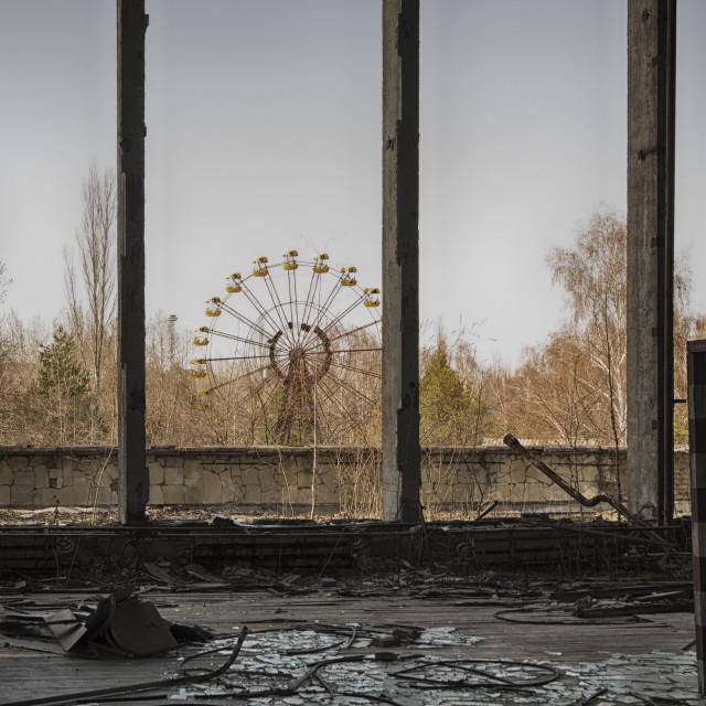 """Fairground from gymnasium, Pripyat, nr Chernobyl, Ukraine"" stock image"