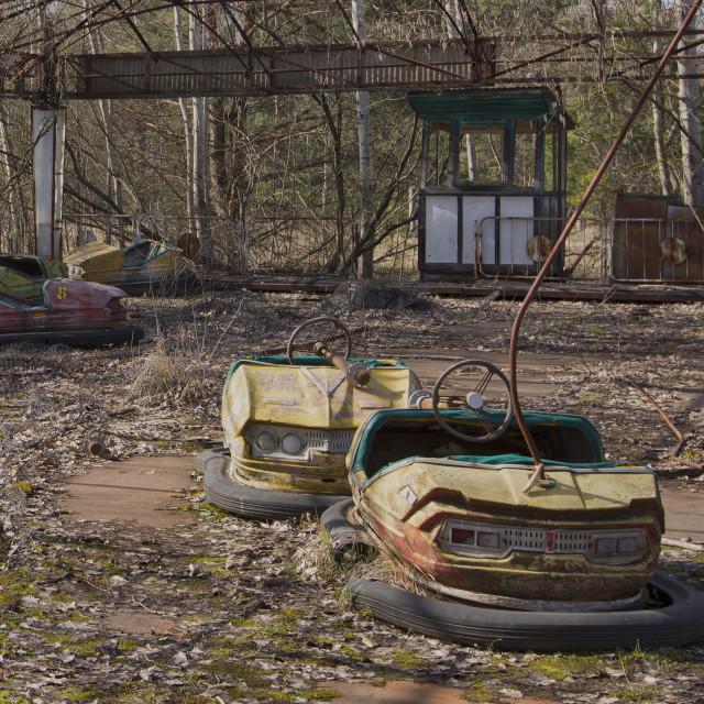 """Bumper cars, fairground, Pripyat, nr Chernobyl, Ukraine"" stock image"