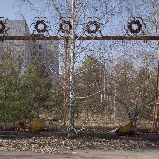 """Swing boats, fairground, Pripyat, nr Chernobyl, Ukraine"" stock image"