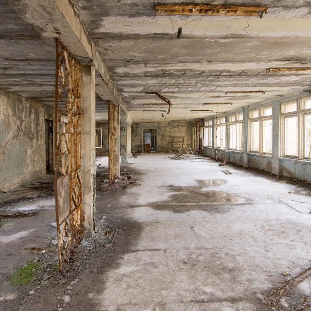 """School building, Pripyat, nr Chernobyl, Ukraine"" stock image"