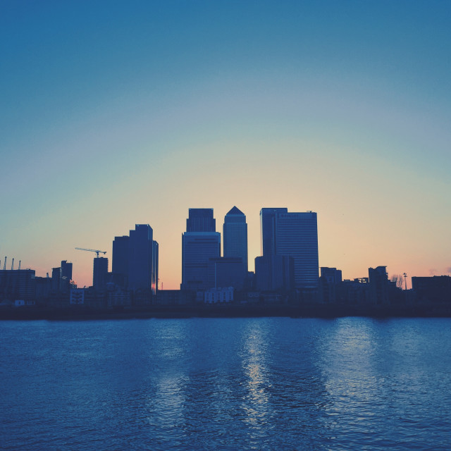 """Sunset behind Canary Wharf"" stock image"