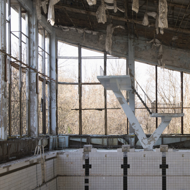 """Swimming pool, Pripyat, nr Chernobyl, Ukraine"" stock image"