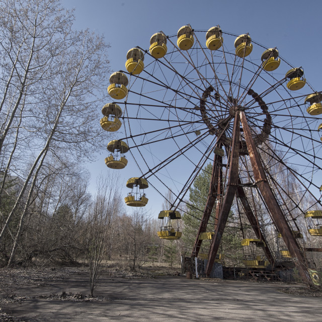 """Ferris wheel, fairground, Pripyat, nr Chernobyl, Ukraine"" stock image"