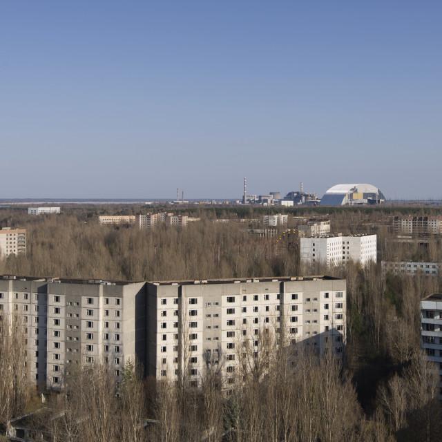 """Aerial view of Pripyat and Chernobyl, Ukraine"" stock image"