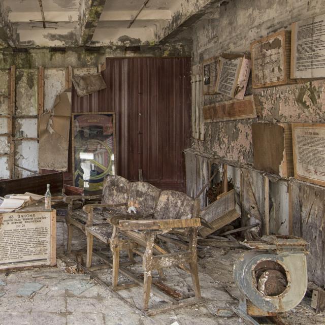 """""""Propaganda room in Duga 3 command centre"""" stock image"""