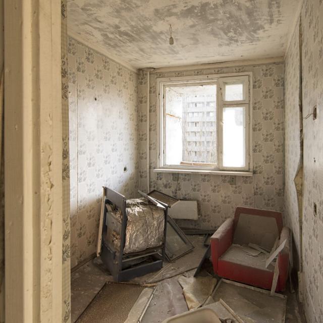 """Abandoned apartment, Pripyat, nr Chernobyl, Ukraine"" stock image"