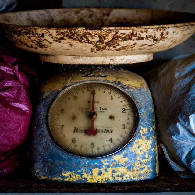"""""""Old kitchen scales"""" stock image"""