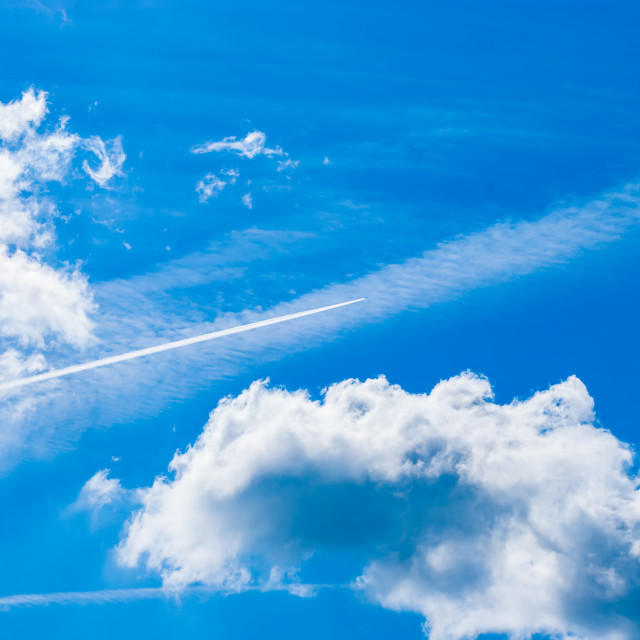 """""""Sky, contrails, and clouds"""" stock image"""