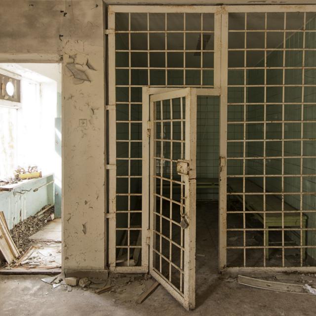 """Police station, Pripyat, nr Chernobyl, Ukraine"" stock image"