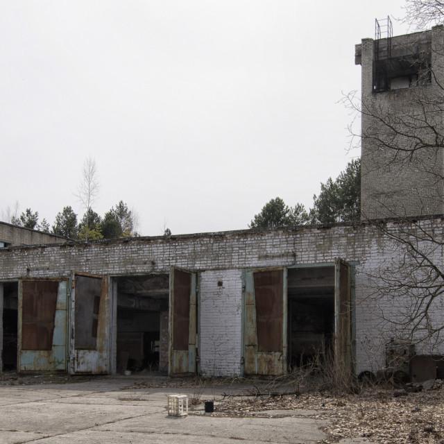 """Fire station, Pripyat, nr Chernobyl, Ukraine"" stock image"