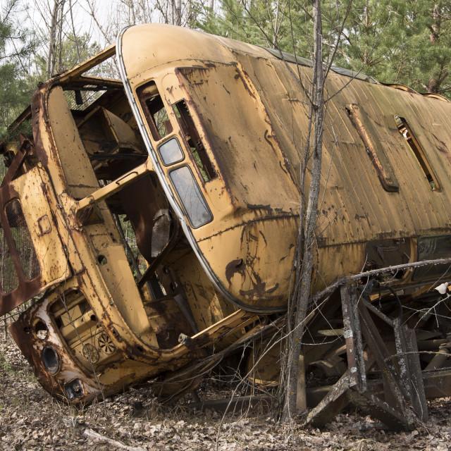 """""""Abandoned vehicle used in evacuation of Pripyat, nr Chernobyl, Ukraine"""" stock image"""