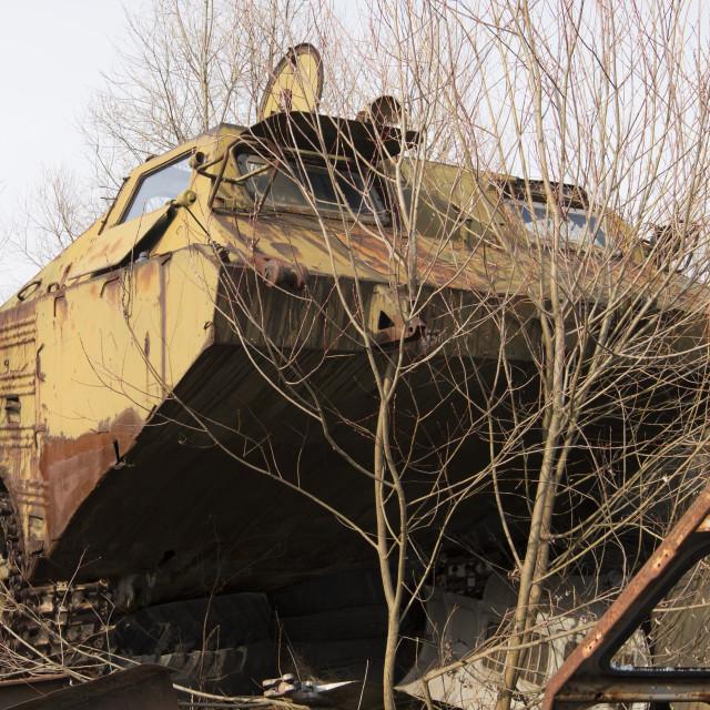 """Abandoned vehicle used in decontamination and evacuation of Chernobyl"" stock image"