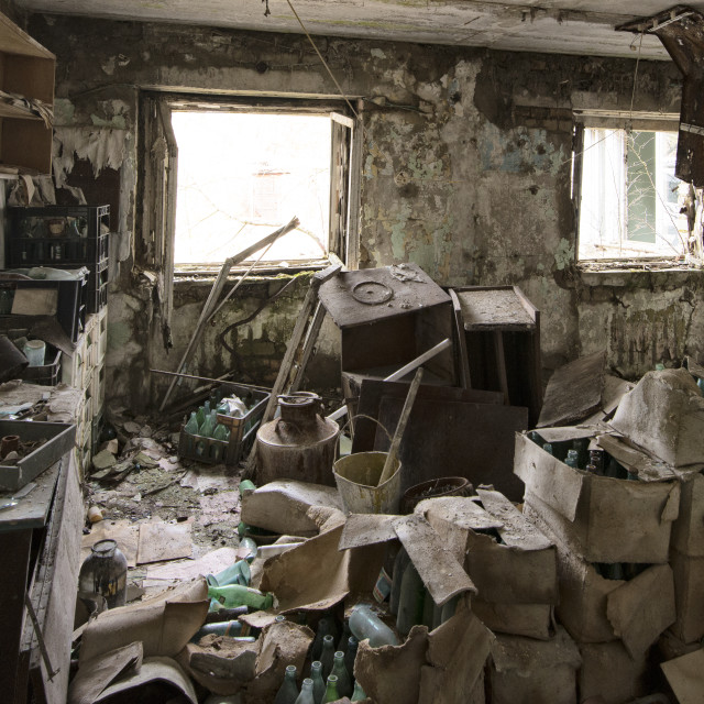 """Abandoned store room, Pripyat, nr Chernobyl, Ukraine"" stock image"