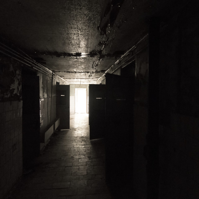 """Police cells, Pripyat, nr Chernobyl, Ukraine"" stock image"