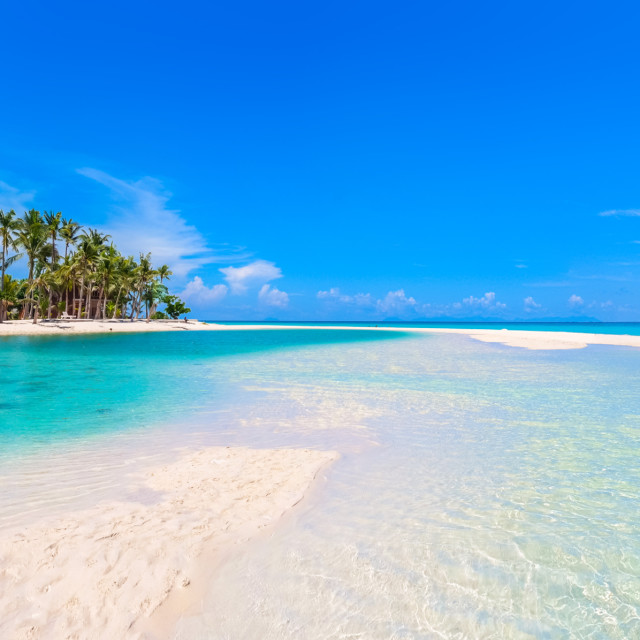 """Island Beach Panorama with Sandbar"" stock image"