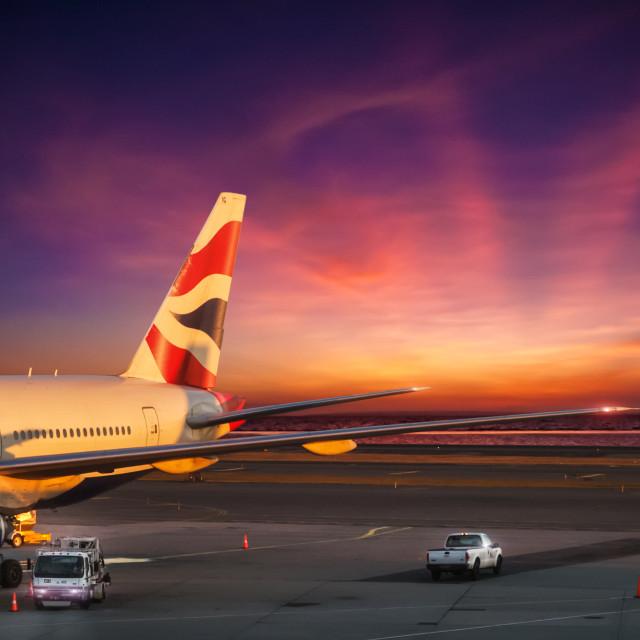 """sunrise photo: Paradise Island Airport NYC & Bantayan Island Phi"" stock image"