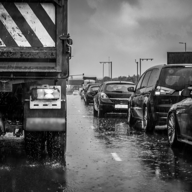 """Traffic in the Rain"" stock image"