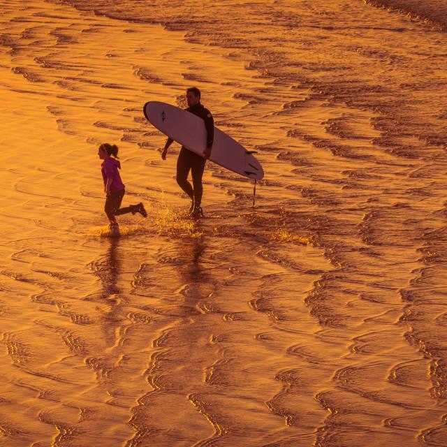 """""""Surfer On Golden Beach."""" stock image"""