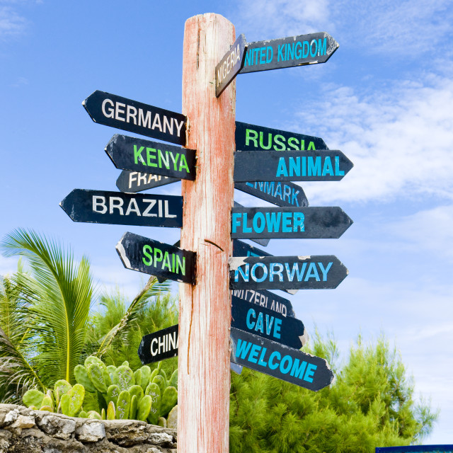 """guidepost, North Point, Barbados"" stock image"