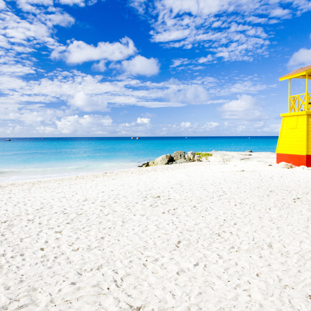 """cabin on the beach, Enterprise Beach, Barbados, Caribbean"" stock image"