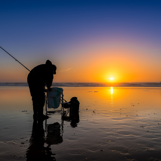 """Sunset Sea Fishing"" stock image"