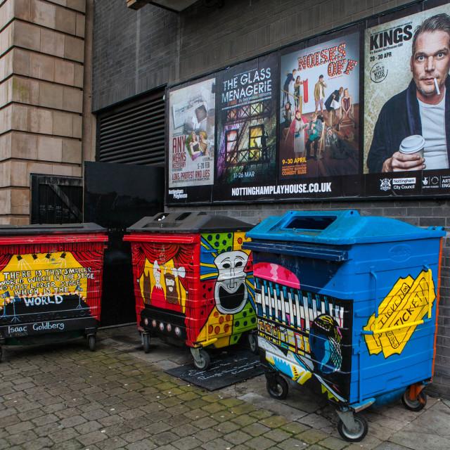 """The bins at Nottingham Playhouse"" stock image"