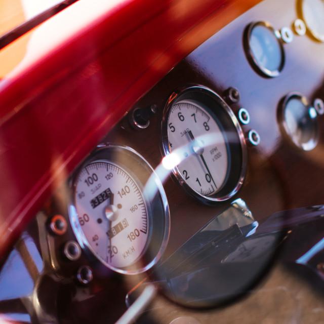 """Vintage car customized dashboard"" stock image"