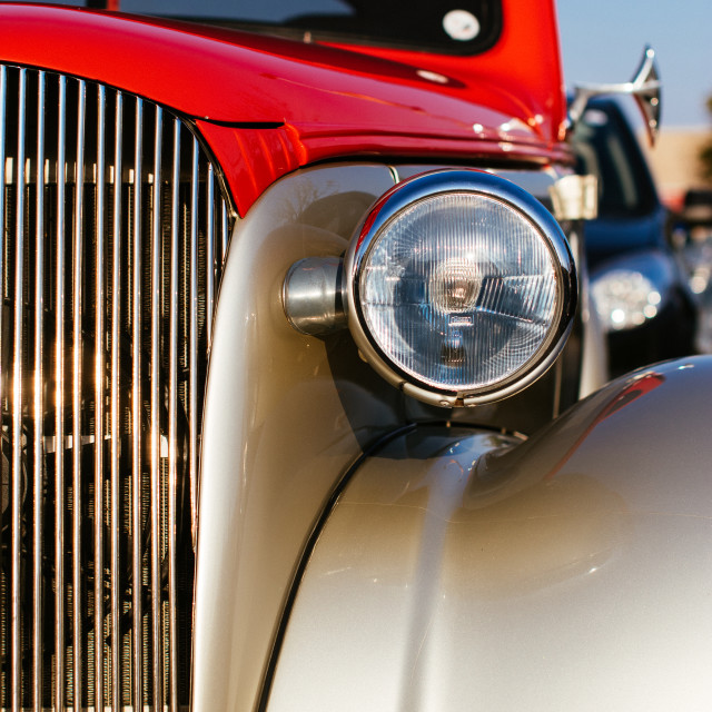 """""""Red and gray vintage coupe"""" stock image"""