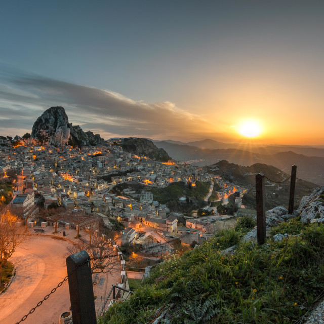 """Caltabellotta, Sicily at dawn"" stock image"