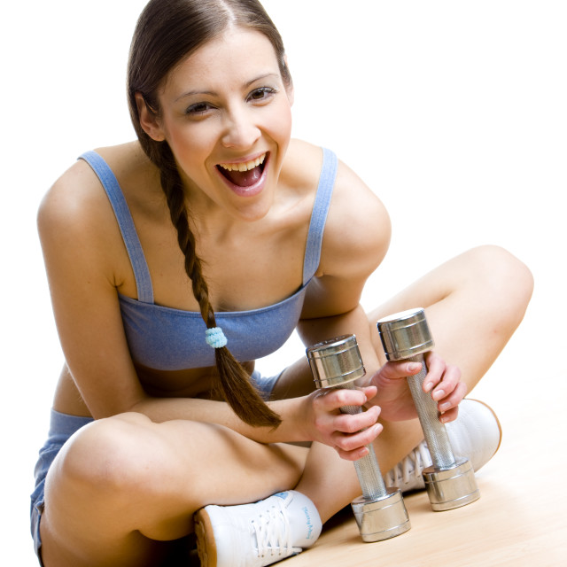"""""""woman with dumb bells at gym"""" stock image"""