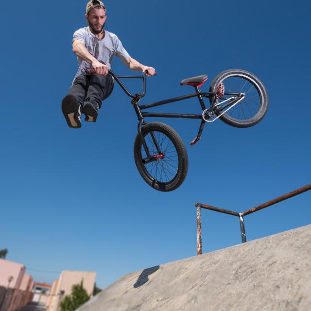 """BMX Bike Stunt tail whip"" stock image"