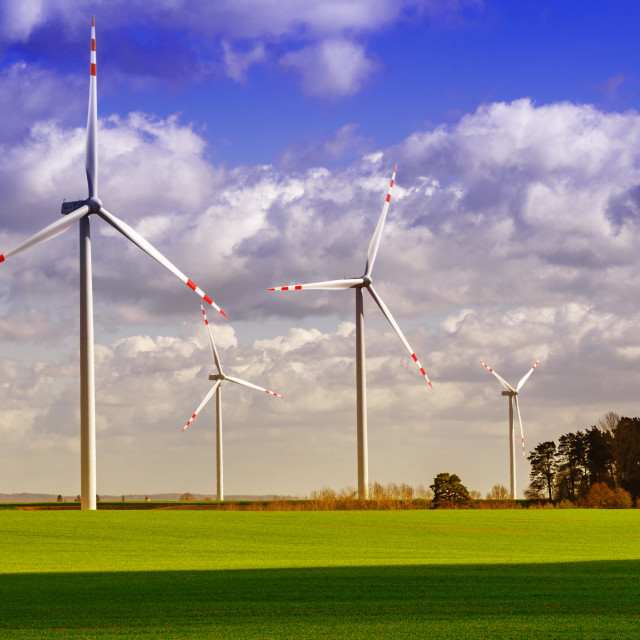 """""""Wind Farm - sunny spring day"""" stock image"""
