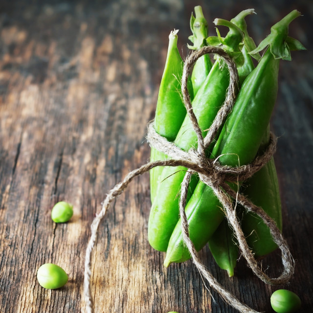 """Mature pods of green peas"" stock image"