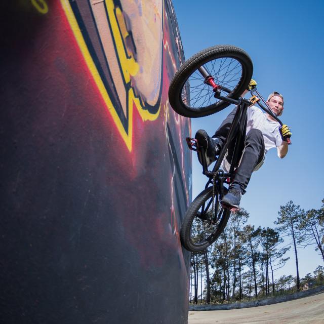 """BMX Bike Stunt Wall Ride"" stock image"