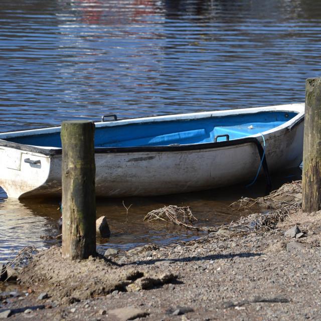 """""""Dingy on Loch Lomond, Balloch 0556"""" stock image"""