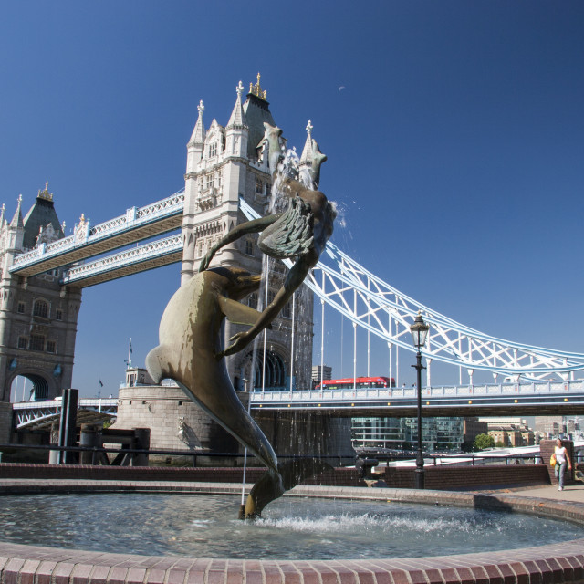 """""""Dolphin and Girl statue, Tower Bridge, London."""" stock image"""