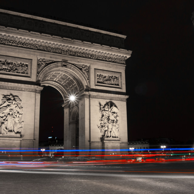 """Arc de Triomphe at Night"" stock image"