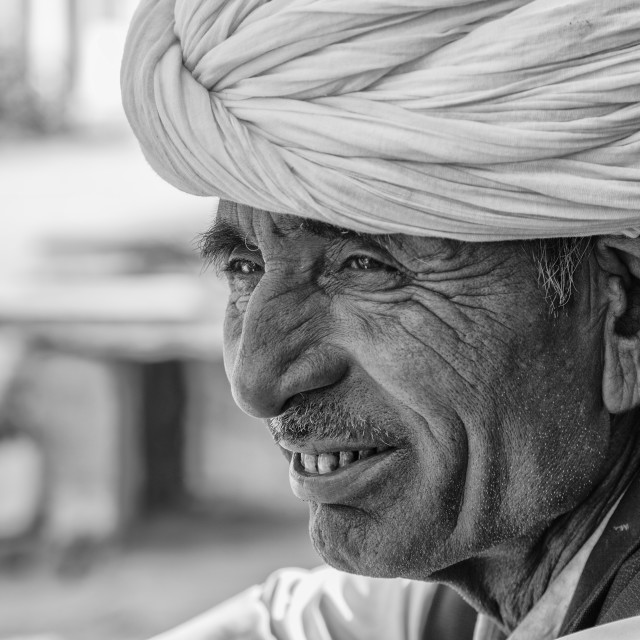"""Portrait of an Indian Man wearing turban"" stock image"