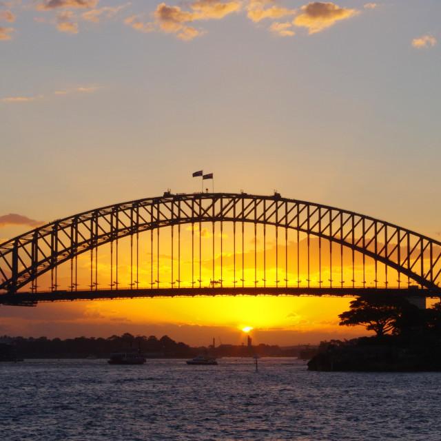 """Sydney Harbour Bridge at sunset"" stock image"