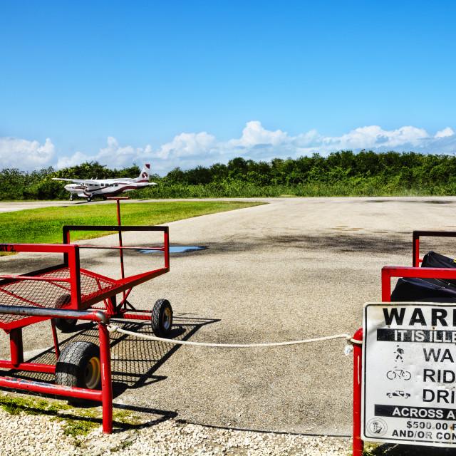 """""""Airstrip warning notice"""" stock image"""
