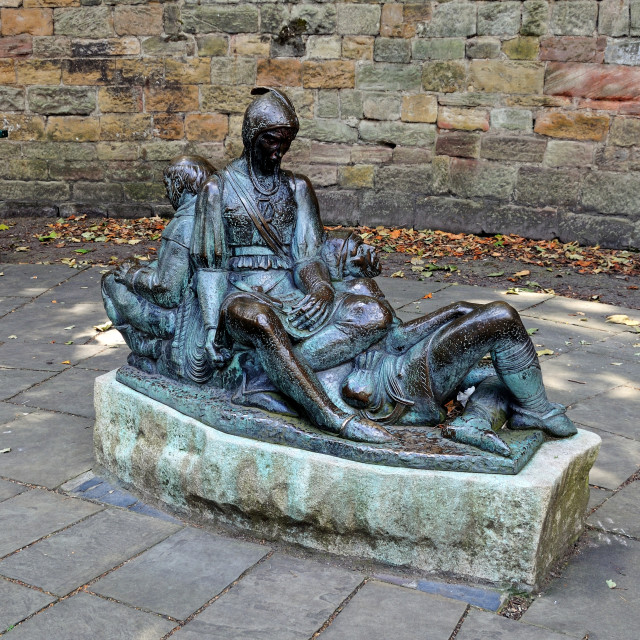 """Statue of Friar Tuck, Will Scarlet and Little John outside Nottingham castle"" stock image"