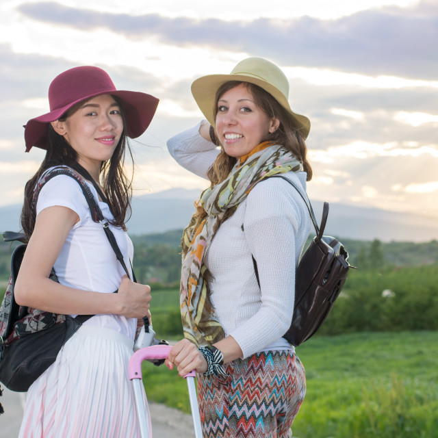 """""""Girlfriends on the road"""" stock image"""