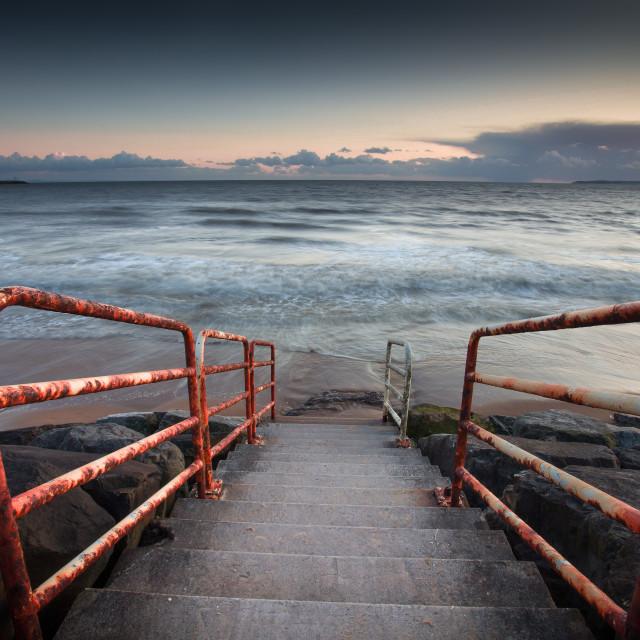 """Aberavon beach handrail"" stock image"