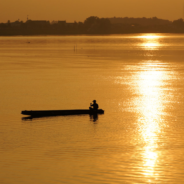 """Sunset on the Mekong"" stock image"