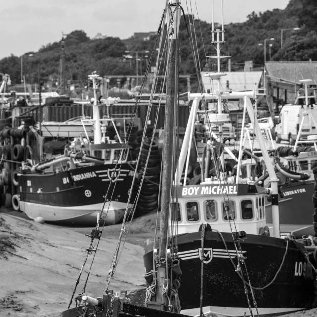 """Boats in estuary"" stock image"
