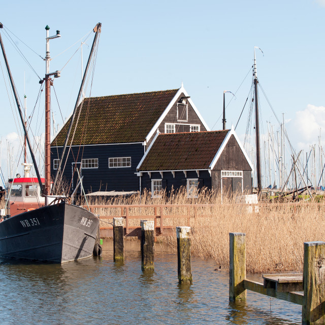 """Dutch boat and house"" stock image"