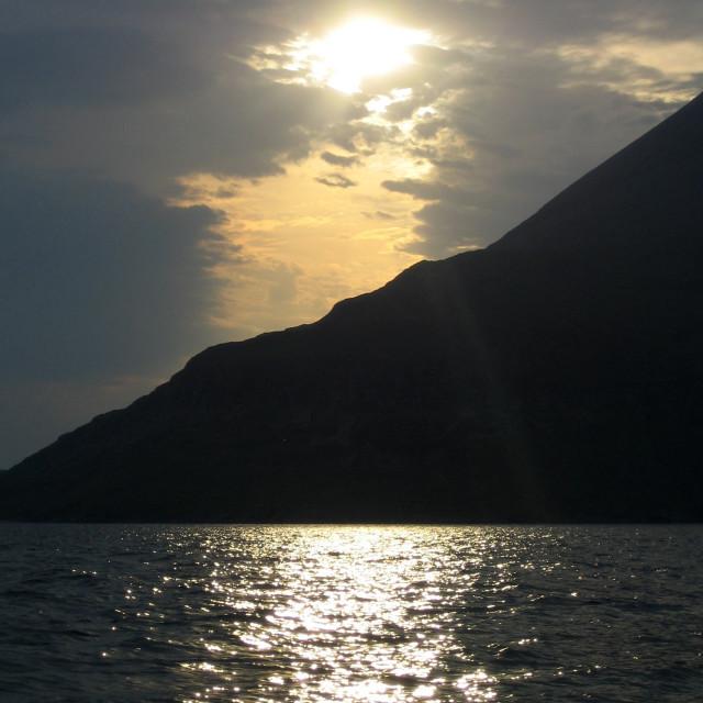 """Sunlight on Scavaig"" stock image"