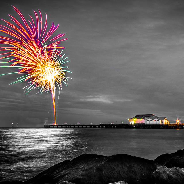 """Clacton Pier Firework Colour"" stock image"